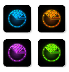 glowing neon pie chart infographic icon isolated vector image