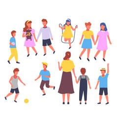 group elementary school boy vector image