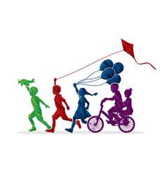 group of children running friendship graphic vector image
