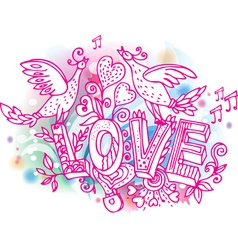 hand drawn valentines day love sketchy vector image