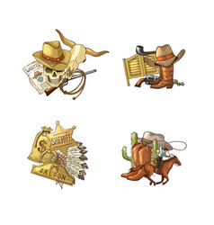 hand drawn wild west cowboy elements piles vector image