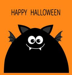 Happy halloween card funny monster head vector