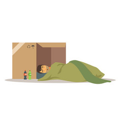 Homeless man character sleeping on the street in vector