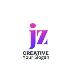 Initial letter jz lowercase design logo template vector