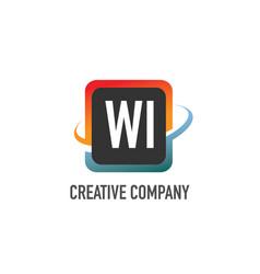 initial letter wi swoosh creative design logo vector image