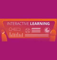 interactive learning concept banner cartoon style vector image