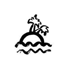 island with palm trees grunge icon tropical vector image