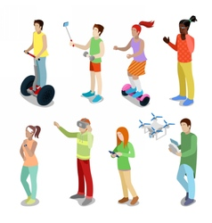 Isometric People with Modern Devices Segway Drone vector