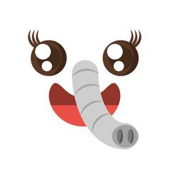 Kawaii face elephant animal expression icon vector
