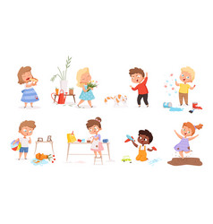 Kids destroy little delinquent messy children vector
