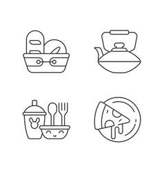 Kitcken dinnerware linear icons set vector