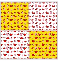 lips and hearts fashion seamless backgrounds vector image