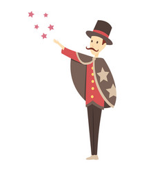 Magician doing a trick - cartoon people character vector