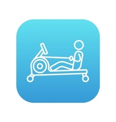 Man exercising with gym apparatus line icon vector image