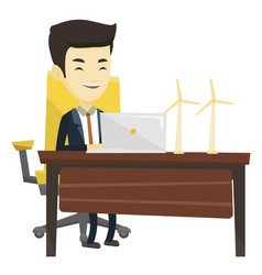 Man working with model of wind turbines vector
