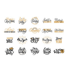 Merry christmas festive lettering icons and signs vector