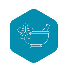 mortar and pestle pharmacy icon outline style vector image