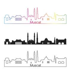 muscat skyline linear style with rainbow vector image