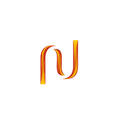 n letter fire modern business logo vector image