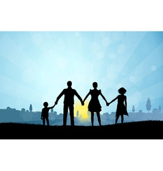 Nature Background with Family Silhouette vector image