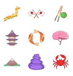 Nippon icons set cartoon style vector