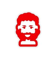 Paper sticker on white background men haircut vector