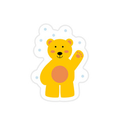 Paper sticker on white background northern bear vector