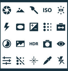 photo icons set with exposure blur circle and vector image
