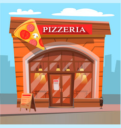 Pizzeria pizza house food and meal eatery place vector