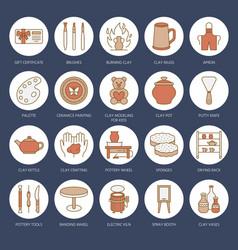 Pottery workshop ceramics classes line icons vector
