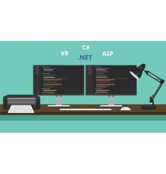 Programmer workspace visual studio net technology vector