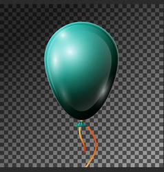 Realistic dark jade balloon with ribbon isolated vector