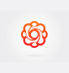 red flower sign in linear style logo design vector image