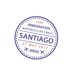 santiago airport stamp isolated visa vector image