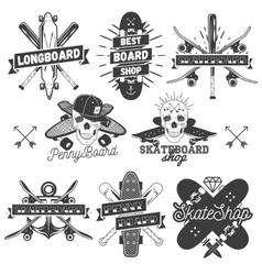 set monochrome skateboard longboard vector image