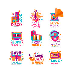 Set of bright music logos with musical instruments vector