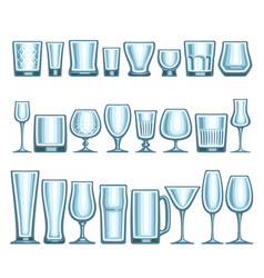 set of different glassware vector image
