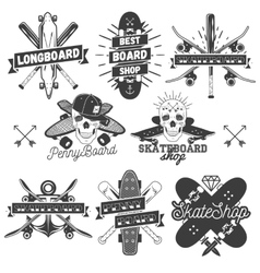 Set of monochrome skateboard longboard vector