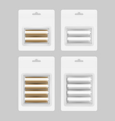 set of silver golden batteries in blister isolated vector image