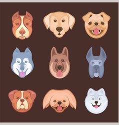 set stickers dogs vector image