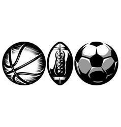 set stylish sports balls for soccer basketball vector image
