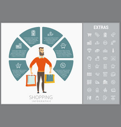 shopping infographic template elements and icons vector image