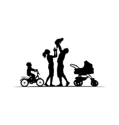 silhouette of family with cradle baby-carriage and vector image