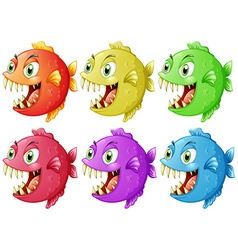 Six fish with sharp teeth vector image