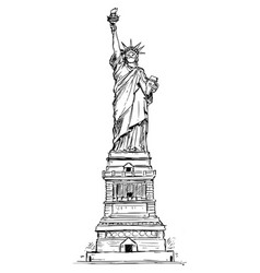 sketchy statue liberty wearing face vector image