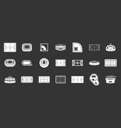 sport arena icon set grey vector image