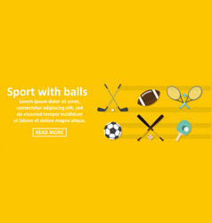 sport with balls banner horizontal concept vector image