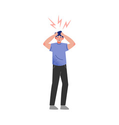 Stressed man holding his head hands vector