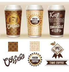 Take Away Coffee Packaging Template Set vector