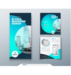 Tri fold brochure design teal orange corporate vector